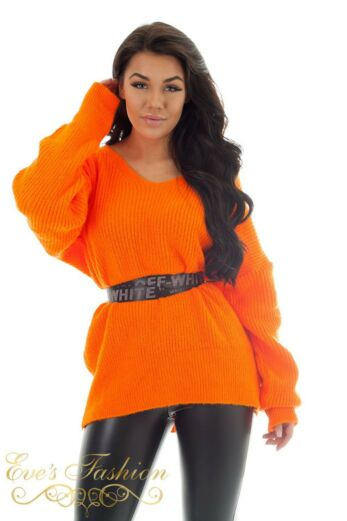 Eve Amber Col Sweater Neon Fuchsia Still