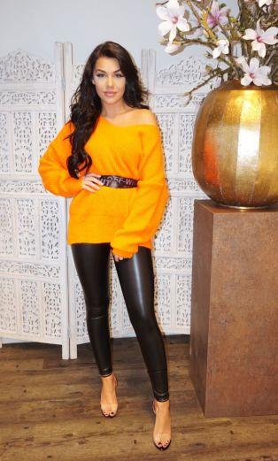 V Sweater Neon Orange