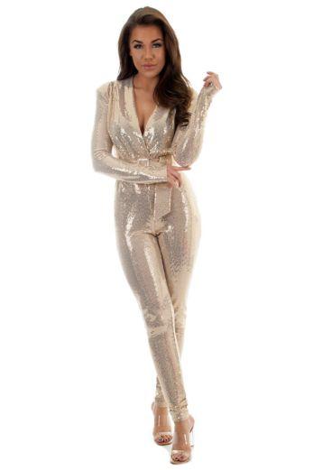 Faye Sequin Jumpsuit Gold