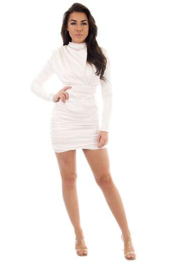 Holly High Neck Dress Satin Creme