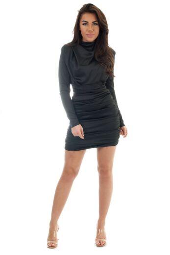 Holly High Neck Dress Satin Black