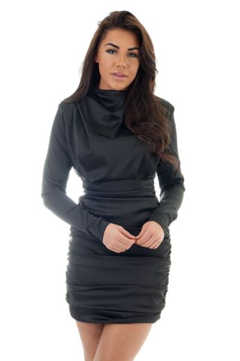Unique the Label Holly High Neck Dress Satin Black Close Up Front