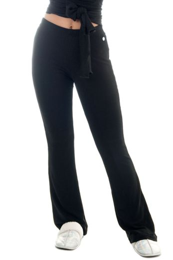 Jacky Luxury Diaz Glitter Trouser Black Close Up Front