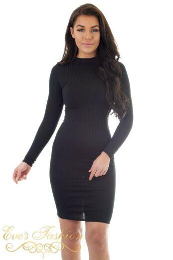 Lana Ribbed Midi Dress Black
