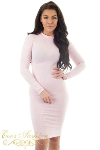 Lana Ribbed Midi Dress Pink