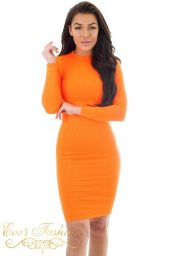 Lana Ribbed Midi Dress Neon Orange