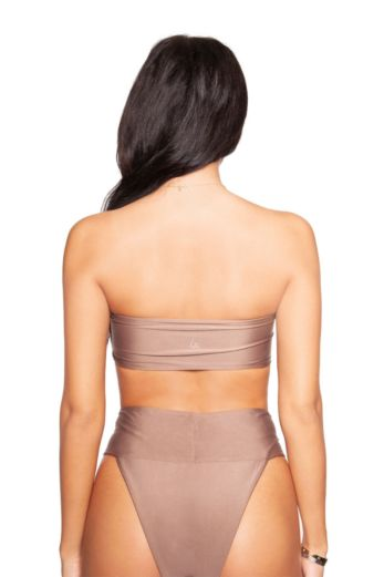 High Waisted Bandeau Bikini Taupe