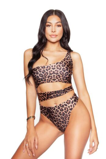 LA Sisters Leopard Cut Out Swimsuit Front