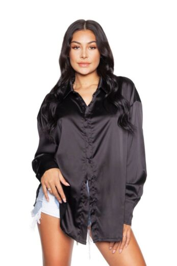 LA Sisters Satin Oversized Blouse Black Front