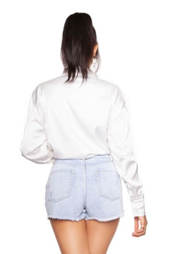 Satin Oversized Blouse White