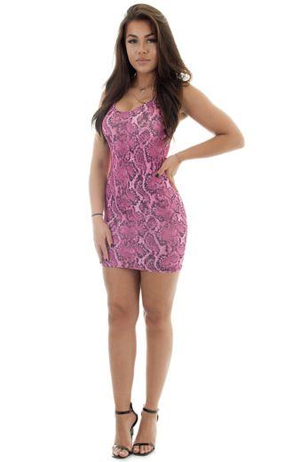 Snake Scoop Mini Dress Pink