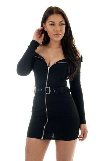 Bardot Zip Dress Black