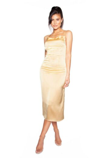 LA Sisters Long Satin Slip Dress Gold Front