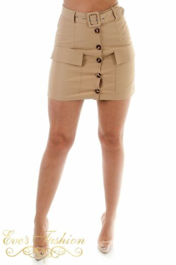 Eve Valery Button Skirt Camel Front