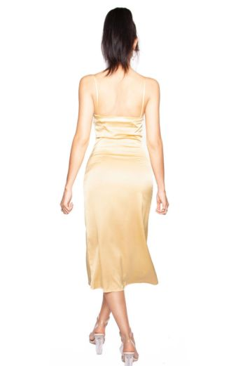 Long Satin Slip Dress Gold