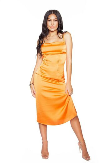 LA Sisters Long Satin Slip Dress Bright Orange Front