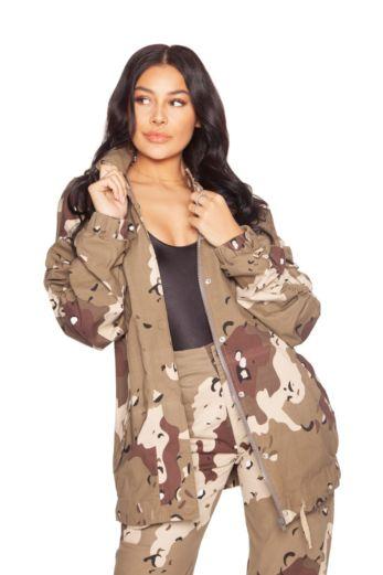 LA Sisters Camouflage Parka Jacket Beige Front