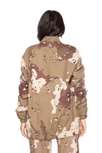 Camouflage Parka Jacket Beige