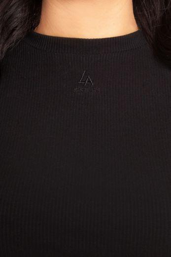 Ribbed Logo Long Sleeve Top Black