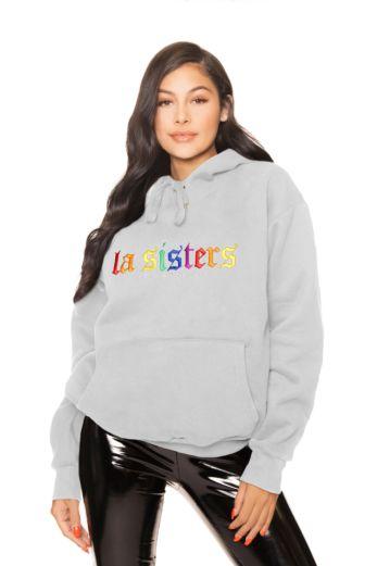LA Sisters Rainbow Hoodie Grey Front