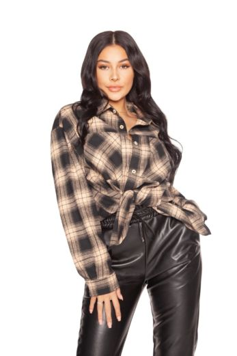 LA Sisters Oversized Check Shirt Beige Front