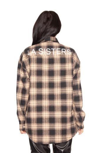 Oversized Checked Shirt Beige