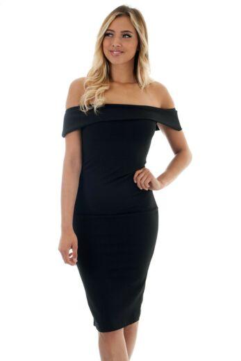 Eve Aaliyah Bardot Bodycon Dress Black Close