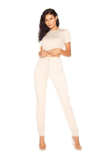 LA Sisters Comfy Knitted Beige Two Piece Front