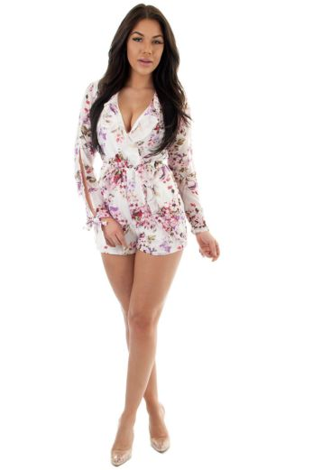 Aubree Floral Wrap Playsuit