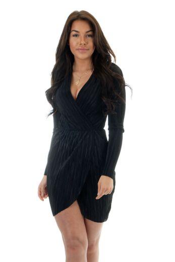 Eve Selene Glam Wrap Dress Black Close