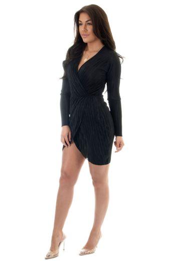 Selene Glam Wrap Dress Black
