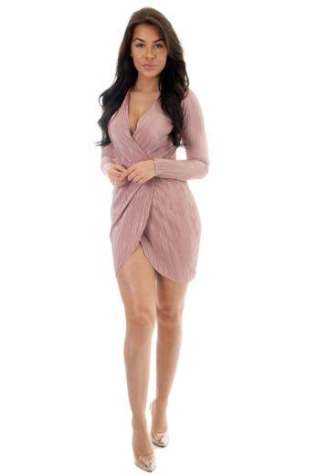 Selene Glam Wrap Dress Pink
