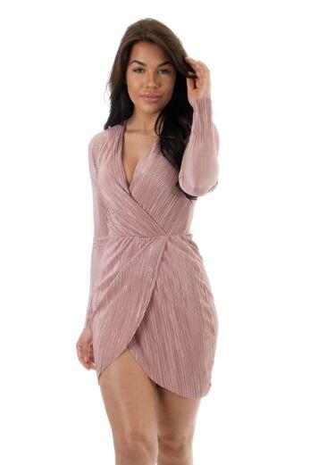 Eve Selene Glam Wrap Dress Pink Close
