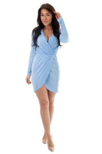 Selene Glam Wrap Dress Baby Blue