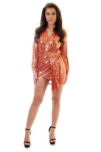 Yasmina Metallic Wrap Dress Coral