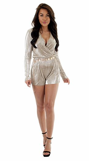 Selene Glam Playsuit Gold