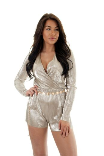 Eve Selene Glam Playsuit Gold Close
