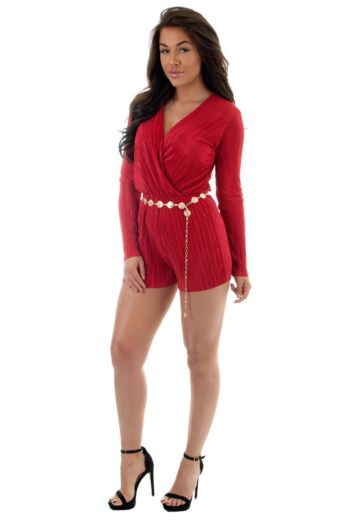Selene Glam Playsuit Red