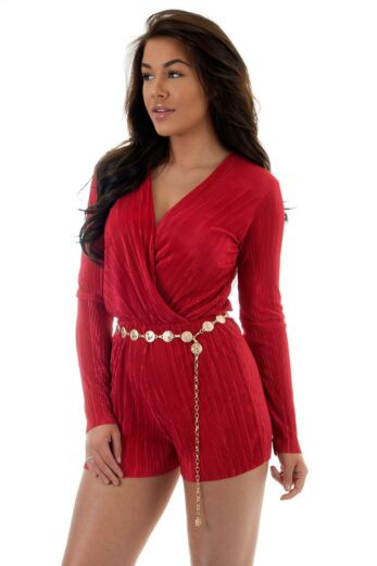 Eve Selene Glam Playsuit Red Close