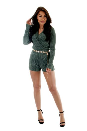 Selene Glam Playsuit Green