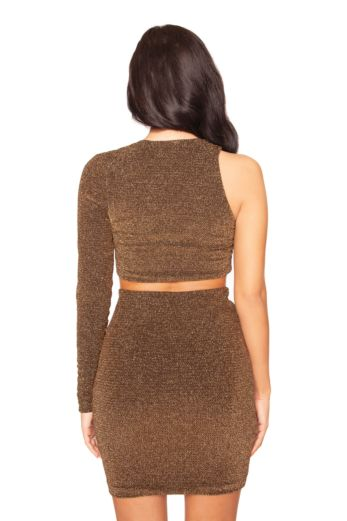 Glitter Cut Out Two Piece Gold