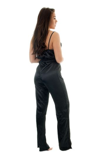 Megan Satin Suit Black