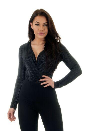Eve Selene Glam Bodysuit Shiny Black Close