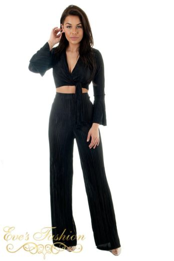 Selene Glam Front Tie Top Black