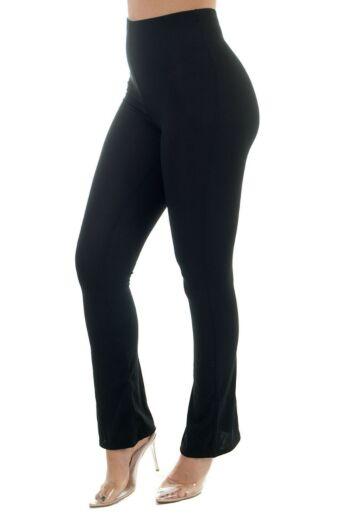 Eve Ribbed Flare Pants Black Side
