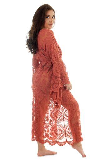 Luxury Lace Kimono Terracotta