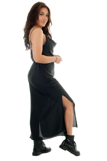 Sabrina Satin Dress Black