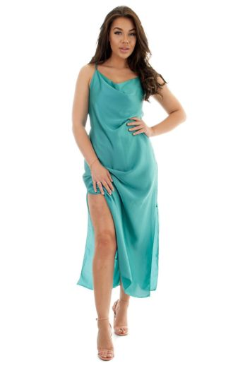 Sabrina Satin Dress Aqua