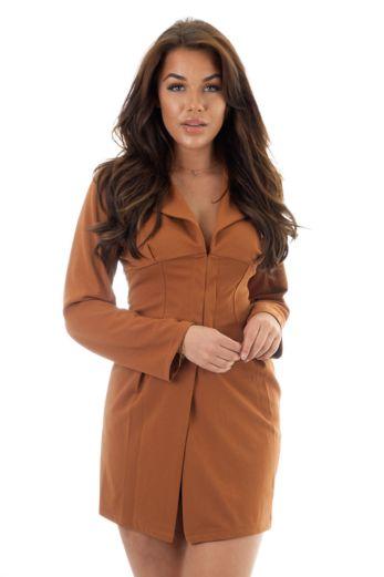 Eve Nadia Corset Dress Brown Close
