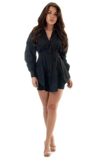 Yaelin Bustier Blouse Dress Black
